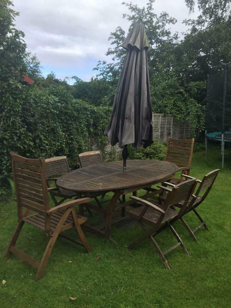 Garden patio table and 6 chairs with parasol   in Muir Of ...