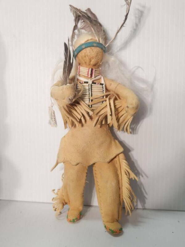 VINTAGE OSAGE PRAIRIE  INDIAN MALE WARRIOR DOLL BEADED HIDE CLOTHING BREASTPLATE