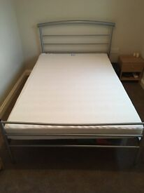 Small double metal bed frame and memory foam mattress
