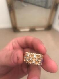 REAL GOLD RING LARGE with diamonds