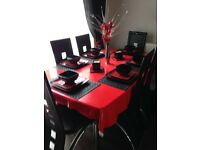 Dining table 6 chairs brilliant condition hardly used.