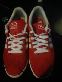 adidas trainers red/white size 8 mens
