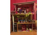 Large Dolls House Mansion With Furniture And Dolls