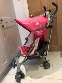 MacLaren Volo pink pushchair / stroller with rain cover