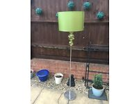 NEXT standard Lamp (just under 5ft) green glass and silk shade. (Matching table lamp available)