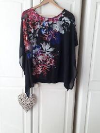 Black flower design top