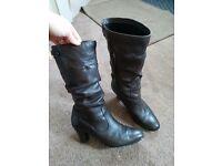"""Women's Dark Brown Leather Boots, 2"""" heel - Size 6.5UK / 9US / 40EU"""