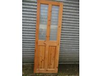 Reclaimed Wooden Internal Door with two matching Etched Glass side Panels.