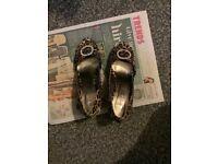 Ladies peep toe high heel leopard print shoes used unbranded UK 4 EU 37
