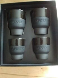 4 Nespresso Touch Collection Cups (2 Espresso 2 Lungo) New Boxed. Design by GECKELER MICHELS Studio.