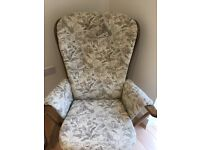 Ercol Jubilee two seater sofa, two matching armchairs and footstool