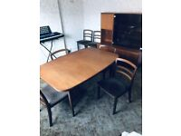 A VINTAGE/ANTIQUE MID-CENTURY G-PLAN EXTENDING 6 SEATER DINING TABLE AND 6 CHAIRS FREE DELIVERY