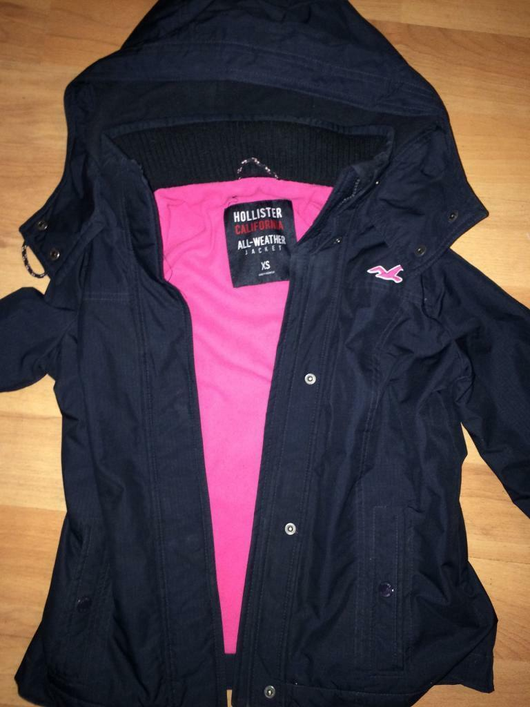 Hollister all weather jacket navy/pink. Excellent condition xs