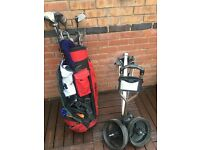 Set of Mizuno Golf Clubs with Slazenger trolley and Hippo bag.