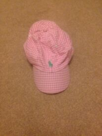 Ralph Lauren girls pink gingham cap/hat age 7-14 years