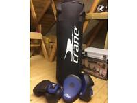 Punch bag, boxing gloves and pads
