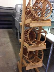 Wooden Display Stand with  3 Baskets for Baguettes