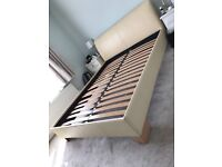 King size bed frame in cream faux leather