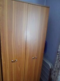 double teak wardrobe excellent condition .