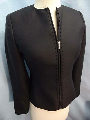GIANNI VERSACE COUTURE ITALY MADE BLACK 100% SILK SLEEK ZIP JACKET S/4/42 BEAUTY