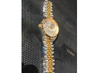 Burei crystal diamond gold silver mans watch