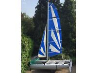 DART 16 SAILING CATAMARAN + ROAD TRAILER & LARGE 2.5m STORAGE BOX LAUNCH TROLLEY -DINGY RACING