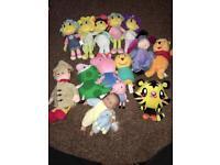 Soft toys - Peppa Pig, candy cat, grandad Tumble, Moshe monster, Winnie the Pooh, fifi, eeyore