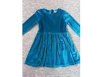 Girls blue velvet feel long sleeve dress 3-4 years