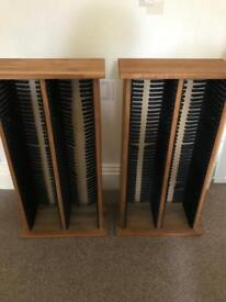 2 solid oak cd towers