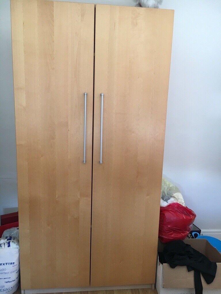 2 Door Oak Wardrobe with Silver Handles *READ DIMENSIONS IN DESCRIPTION* |  in Rainham, London | Gumtree