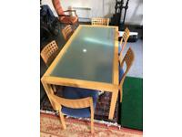 Beautiful Glass top table and 6 blue chairs