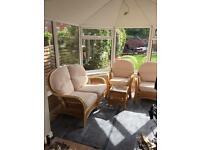Cane conservatory 3 piece sofa set