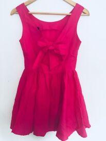 Topshop hot pink skater dress bow