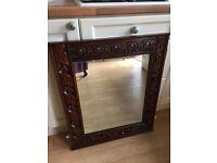 Old Oak Framed Carved Mirror