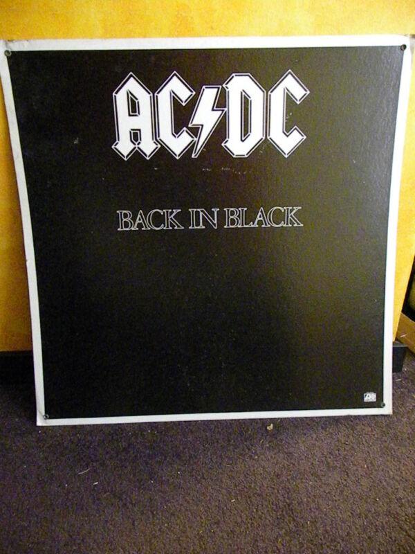 AC/DC - BACK IN BLACK ( 1980 Vintage Original Cardboard Promo Display Poster )