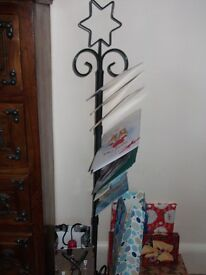 """PARTY CARDS STAND - 44"""" -WROUGHT IRON WITH STAR"""