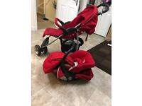 Pushchair with rain cover, foot muff and Car seat