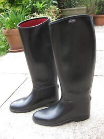Black Rubber Womens' Long Riding Boots Size 7
