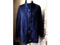 Being Casual Jersey Knit Navy Blue Zip & Toggle Duffle Coat - Plus Size 30