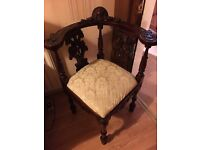 Antique Victorian style mahogany figural fancy corner chair