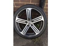 VOLKSWAGEN GOLF R MK7 ALLOY WHEEL WITH TYRE GENUINE 18 INCH