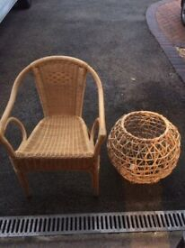 Cain chair and decorative piece