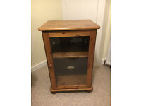 Small Medium Pine Glass Fronted Media / Display Cabinet