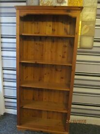 SOLID PINE BOOK CASE WITH SOLID PINE TOUNGUE AND GROOVE BACK IN GREAT CONDITION