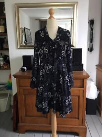 M&S Collection Navy tea-dress with pussy bow - size 14