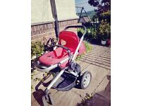Quinny Buzz Red with Raincover and Cosy Toes