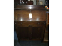 Attractive Art Deco Style Slim Line Lockable Solid Oak Bureau Writing Desk Bookcase with Drawer