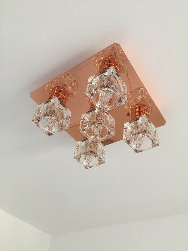 2 X Minisun Copper Ice Cube 5 Bulb Flush Ceiling Light Ings