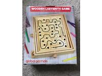 Wooden labyrinth puzzle game (as new)