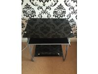 TRENDY BLACK GLASS AND SILVER METAL DESK